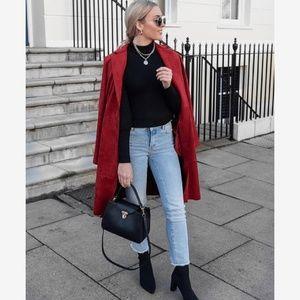 L Red Tulle Pea Coat